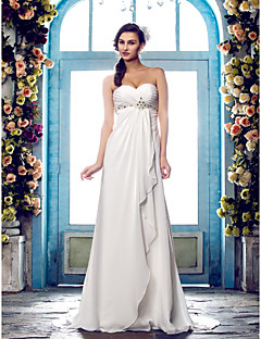 A-line Plus Sizes Wedding Dress - Ivory Sweep/Brush Train Sweetheart Chiffon