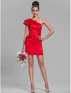 Lanting Bride® Short / Mini Satin Bridesmaid Dress Sheath / Column One Shoulder Plus Size / Petite with Ruffles / Sash / Ribbon