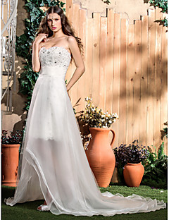 Sheath/Column Plus Sizes Wedding Dress - Ivory Knee-length Strapless Lace/Organza