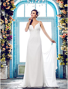Lanting Bride® Sheath / Column Petite / Plus Sizes Wedding Dress - Classic & Timeless / Glamorous & Dramatic Open Back Sweep / Brush Train