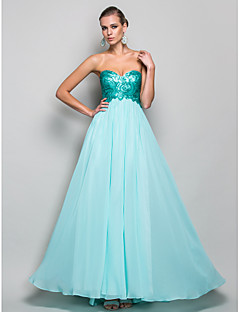 Formal Evening/Prom/Military Ball Dress - Pool A-line/Princess Strapless/Sweetheart Floor-length Chiffon/Sequined