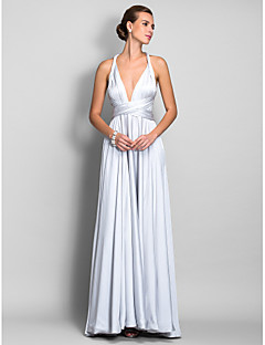 Homecoming Prom/Military Ball/Formal Evening Dress - Silver Plus Sizes A-line Straps Floor-length Satin Chiffon