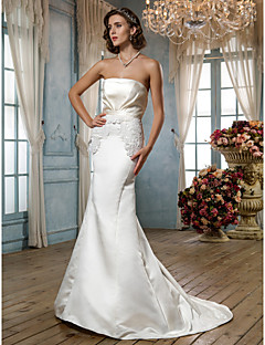 Lanting Bride Sheath/Column Petite / Plus Sizes Wedding Dress-Court Train Strapless