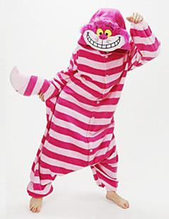 着ぐるみ パジャマ New Cosplay® ネコ チェシャ猫 レオタード/着ぐるみ イベント/ホリデー 動物パジャマ ハロウィーン レッド パッチワーク コーラルフリース きぐるみ ために 男女兼用 ハロウィーン クリスマス カーニバル 新年