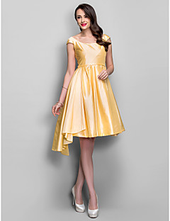 Cocktail Party/Holiday Dress - Daffodil Plus Sizes A-line Scoop Knee-length Taffeta
