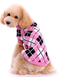 Koirat Neulepaidat Pinkki Koiran vaatteet Talvi / 봄/Syksy Ruudullinen Söpö / Pidä Lämmin