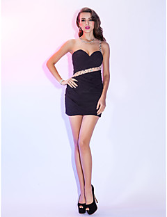 Cocktail Party / Holiday Dress - Black Plus Sizes / Petite Sheath/Column One Shoulder Short/Mini Chiffon