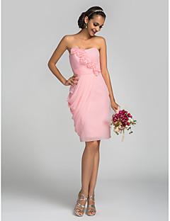 Robe de Demoiselle d'Honneur - Rose Bonbon Fourreau Sans bretelles Longueur genou Mousseline polyester Grandes tailles