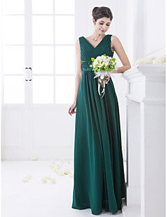 Lanting Bride® Floor-length Chiffon Bridesmaid Dress - A-line V-neck Plus Size / Petite withCrystal Detailing / Criss Cross / Side