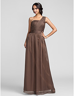 Lanting Floor-length Chiffon Bridesmaid Dress - Brown Plus Sizes / Petite Sheath/Column One Shoulder