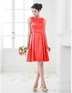 Homecoming Knee-length Stretch Satin Bridesmaid Dress - Watermelon Plus Sizes A-line/Princess Square