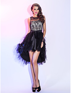 TS Couture Cocktail Party Homecoming Holiday Dress - High Low A-line Scoop Asymmetrical Lace Tulle with Sash / Ribbon Cascading Ruffles
