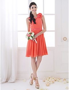 동창회 들러리 드레스 무릎 길이 쉬폰과 스트레치 라인 특종 드레스 새틴 (710802)