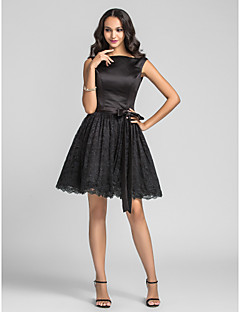 Lanting Knee-length Charmeuse / Lace Bridesmaid Dress - Black Plus Sizes / Petite A-line / Princess Bateau