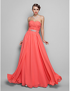 Formal Evening/Prom/Military Ball Dress - Watermelon Plus Sizes A-line/Princess Strapless/Sweetheart Floor-length Chiffon