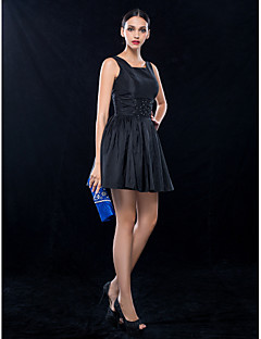 TS Couture Cocktail Party Wedding Party Dress - Short Little Black Dress A-line Square Short / Mini Taffeta with Beading Ruching