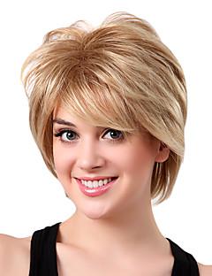 Kort peruk med gyllene blont syntetiskt hår av hög kvalitet med lugg, utan huva