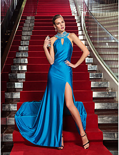 Military Ball/Formal Evening Dress - Ocean Blue Plus Sizes Sheath/Column High Neck Floor-length Jersey