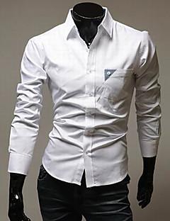 STJY Контрастность Цвет длинным рукавом для похудения рубашка (белый)