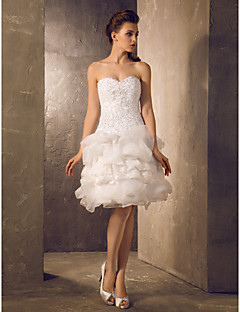 Lan Ting A-line/Princess Plus Sizes Wedding Dress - Ivory Knee-length Sweetheart Lace/Organza