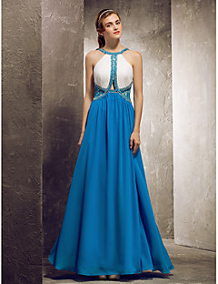 Floor-length Chiffon Bridesmaid Dress - Ocean Blue Apple/Hourglass/Inverted Triangle/Pear/Rectangle/Plus Sizes/Petite/Misses Sheath/Column