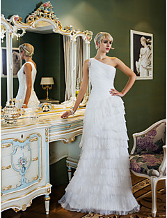웨딩 드레스 - 아이보리(색상은 모니터에 따라 다를 수 있음) 시스/컬럼 스위프/브러쉬 트레인 원 숄더 쉬폰 플러스 사이즈