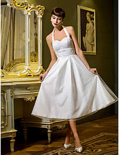 Lanting Bride® A-line / Princess Petite / Plus Sizes Wedding Dress Tea-length Halter Tulle with
