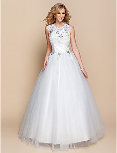 Ball Gown Wedding Dress - Ivory Floor-length Scoop Organza