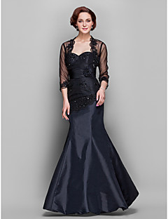 Lanting Wedding Party / Formal Evening / Military Ball Dress - Black Plus Sizes / Petite Trumpet/Mermaid Sweetheart Floor-length Taffeta / Tulle