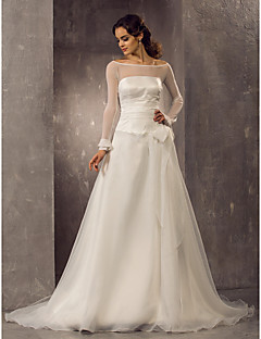 LAN TING BRIDE A-line Princess Wedding Dress - Classic & Timeless Elegant & Luxurious See-Through Court Train Off-the-shoulderOrganza