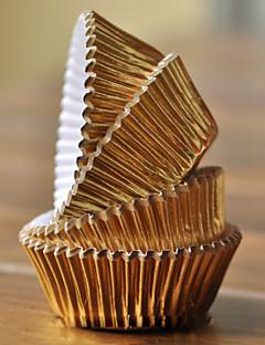 Goud aluminiumfolie Cupcake Wrappers - Set van 100