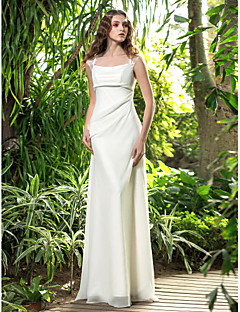 A-line Plus Sizes Wedding Dress - Ivory Floor-length Square Georgette