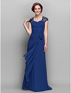 A-line Plus Sizes Mother of the Bride Dress - Dark Navy Floor-length Short Sleeve Georgette