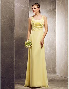 Vestido de Dama de Honor - Narciso Corte Recto Escote Capa/Escote A la Base - Hasta el Suelo Gasa Tallas grandes