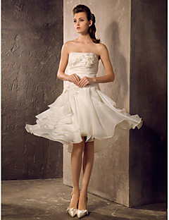 Wedding Dress A Line Knee Length Organza Strapless Little White Dress With Ruffles and Beading