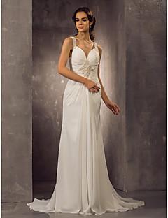 gaine de mariée lanting / colonne petite / tailles plus robe de mariée-balayage / pinceau train bretelles en mousseline de soie