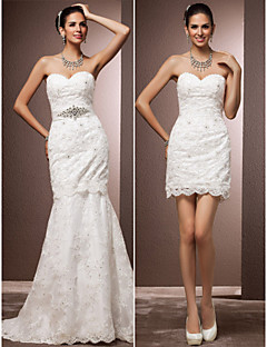 Lanting Trumpet/Mermaid Plus Sizes Wedding Dress - Ivory Court Train Sweetheart Lace