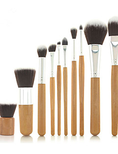 Pro High Quality 10 PCs Synthetic Hair Bamboo Handel Makeup Brush Set with Fibre Bag