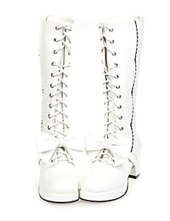2 Kleur Handgemaakte PU leer 6,5 cm hoge hak Sweet Lolita Boots with Bow