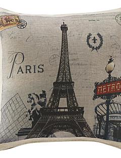 "18 ""Land Paris Print Polyester Dekorativa Kuddfodral"