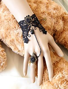 Dark Queen Handmade Black Lace Gothic Lolita Bracelet with Deulxe Ring