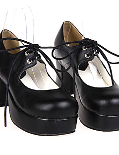 Lolita Shoes Classic/Traditional Lolita Handmade High Heel Shoes Solid 7.5 CM Black For Women PU Leather/Polyurethane Leather