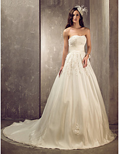 Lanting A-line/Princess Plus Sizes Wedding Dress - Ivory Court Train Sweetheart Tulle/Satin