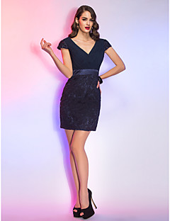 Cocktail Party / Holiday / Company Party / Family Gathering Dress - Short Sheath / Column V-neck Short / Mini Chiffon / Lace withLace /