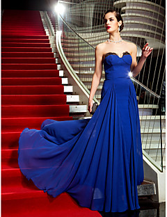 Formal Evening/Military Ball Dress - Royal Blue Plus Sizes A-line Strapless Sweep/Brush Train Georgette