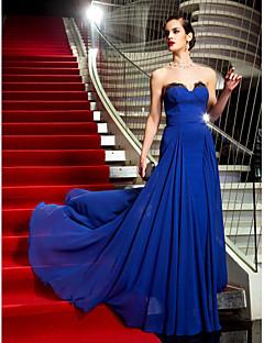 저녁 정장파티/밀리터리 볼 드레스 - 로얄 블루 A라인 스위프/브러쉬 트레인 스트랩 없음 조젯 플러스 사이즈