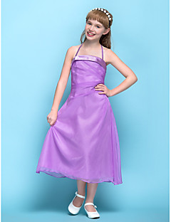 Tee-Länge Chiffon Junior-Brautjungferkleid A-Linie Träger Natürlich mit Seitlich drapiert