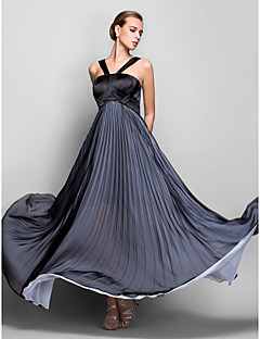Formal Evening/Military Ball Dress - Black Plus Sizes A-line Halter Floor-length Chiffon