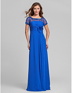 Lanting Floor-length Chiffon Bridesmaid Dress - Royal Blue Plus Sizes / Petite A-line Square