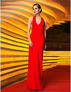 Baile Militar/Fiesta formal Vestido - Rojo Corte Recto Hasta el Suelo - Escote Halter Jersey Tallas grandes